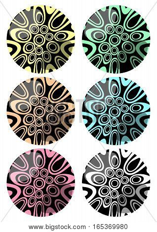 Set of spheres with swirly pattern decoration in different color variants
