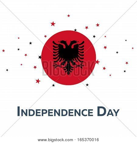 Independence Day Of Albania. Patriotic Banner. Vector Illustration.