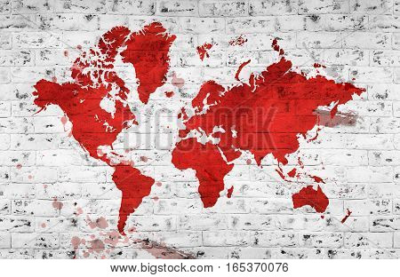 Illustrated map of the world with a White brick wall. Horizontal background.