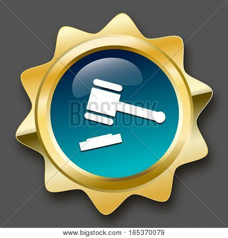 Justice seal or icon with hammer symbol. Glossy golden seal or button.