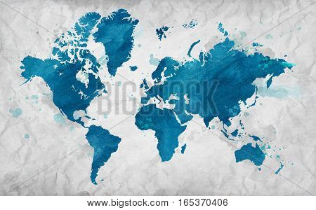 Illustrated map of the world on crumpled paper. Horizontal background.