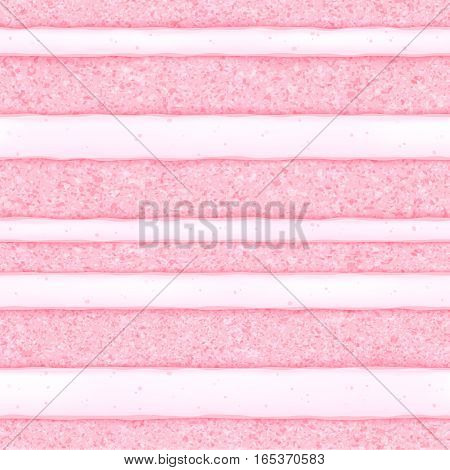 Pink strawberry sponge cake with white cream filling background. Colorful seamless texture. Vector illustration. Good for bakery menu design - poster banner flyer packaging.