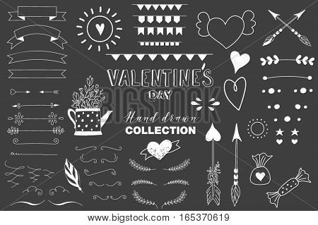 Collection of hand drawn design elements for Valentines day