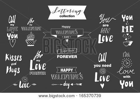 Collection of hand drawn letterings for Valentines day