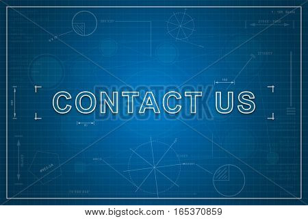contact us on paper blueprint background business concept