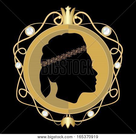 Gold jewellery with classical woman face profile in circle medallion with golden royal crown and pearls brooch in art deco style