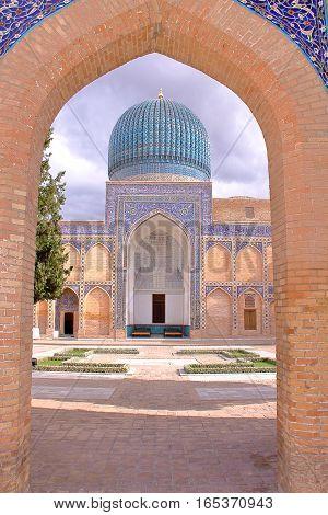 SAMARKAND, UZBEKISTAN: Gur-e-Amir Mausoleum with the entrance gate