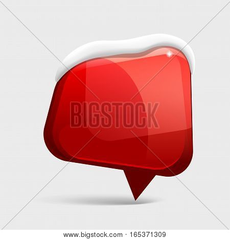 realistic Shiny gloss red banner wit snow. Vector illustration.