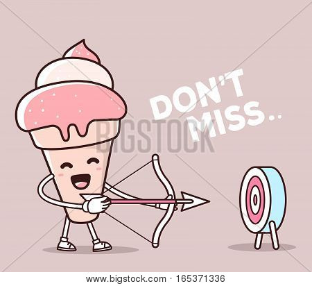 Vector Illustration Of Color Smile Ice Cream Shooting Arrows On Light Background. Creative Archery C