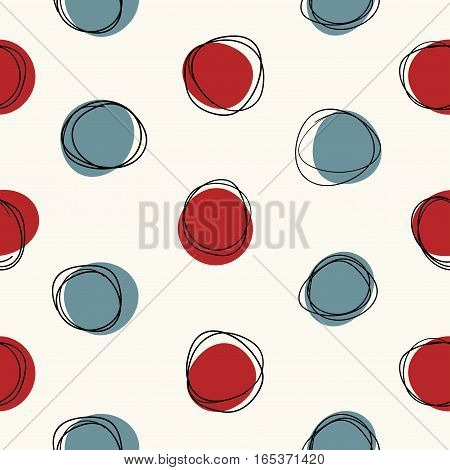 Vector seamless mid century circle pattern. Doodle retro sketchy design.