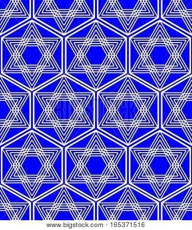 Star of David background in nation Israel colors white and blue monoline white drawing of star in a hexagonal shape. Repeating seamless patterns.