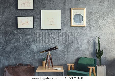 Home decoriation with telescope and vintage armchair