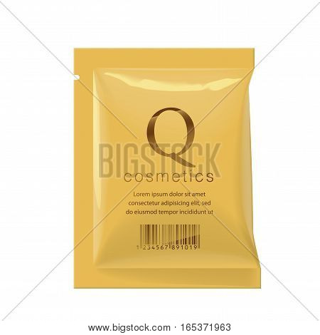 Realistic Gold color Blank template Packaging Foil wet wipes Pouch Medicine or for cosmetics. vector illustration.