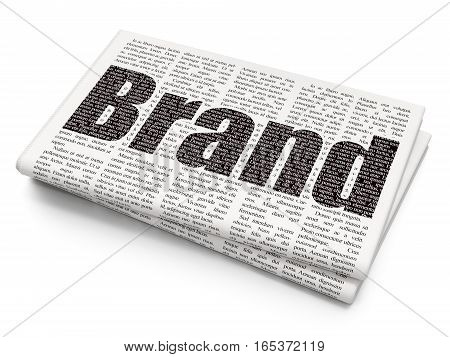 Marketing concept: Pixelated black text Brand on Newspaper background, 3D rendering