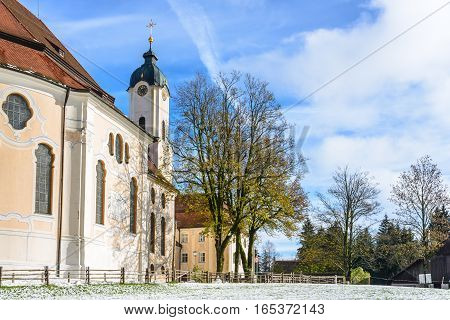 The Pilgrimage Church of Wies (Wieskirche) Country church in Bavaria, Germany