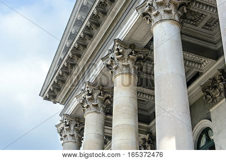 Columns in front of facade roof, architecture