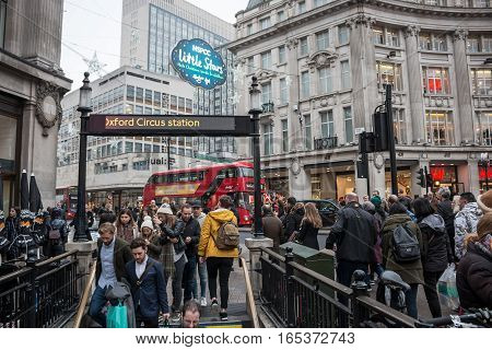 LONDON UK - DECEMBER 19 2016: Underground entrance/exit on the Oxford Circus, in a busy Christmas period