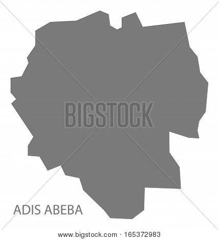Adis Abeba Ethiopia Map in grey region silhouette illustration
