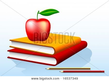 Vector illustration of two books and a red apple on top