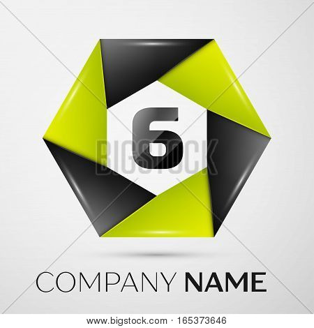 Number six vector logo symbol in the colorful circle on grey background. Vector template for your design