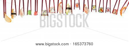 Sushi Set In Wooden Red Chopsticks Isolated On White Background