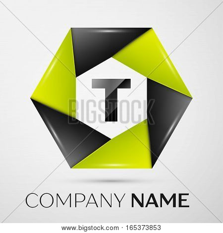 Letter T vector logo symbol in the colorful circle on grey background. Vector template for your design