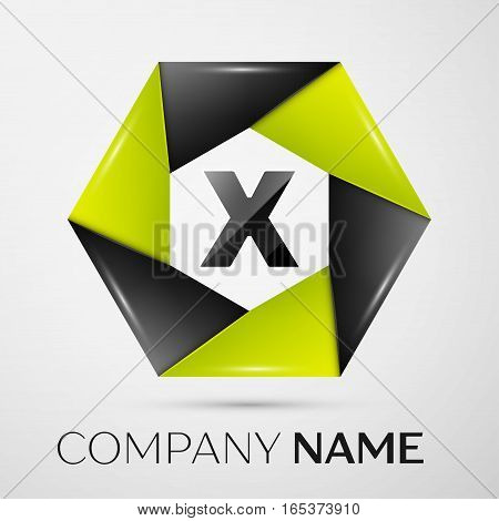 Letter X vector logo symbol in the colorful circle on grey background. Vector template for your design