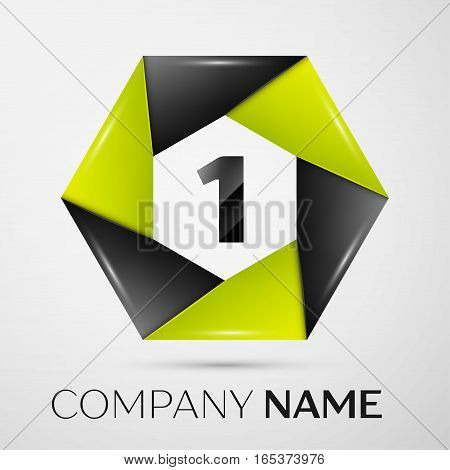 Number one vector logo symbol in the colorful circle on grey background. Vector template for your design