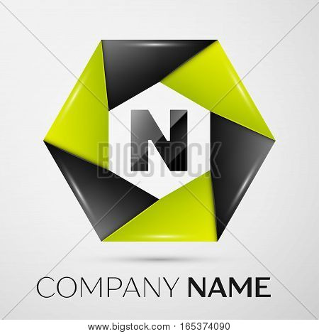 Letter N vector logo symbol in the colorful circle on grey background. Vector template for your design