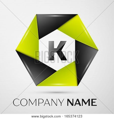 Letter K vector logo symbol in the colorful circle on grey background. Vector template for your design