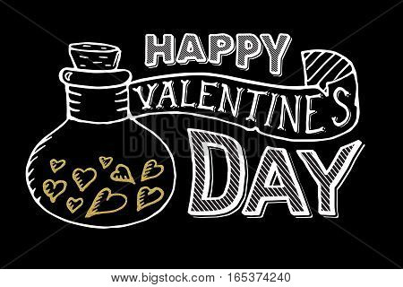 Happy Valentines Day Lettering Card. Gold hearts with white text on black background. Postcard print template.