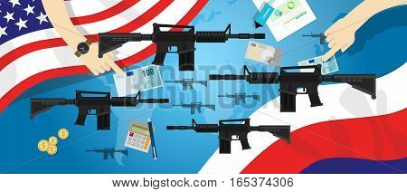 America Russia USA proxy war arms conflict world international dispute money business hands control vector