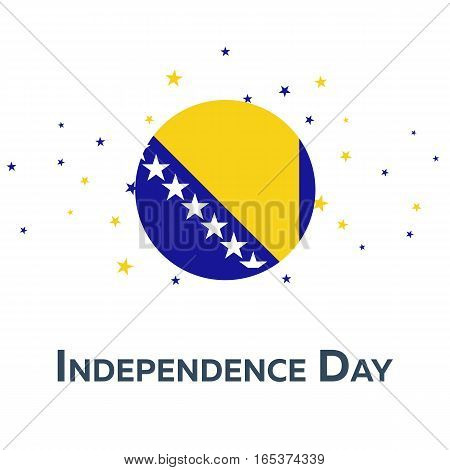 Independence Day Of Bosnia And Herzegovina. Patriotic Banner. Vector Illustration.