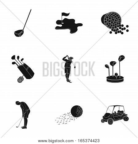 Golf club set icons in black design. Big collection of golf club vector symbol stock illustration