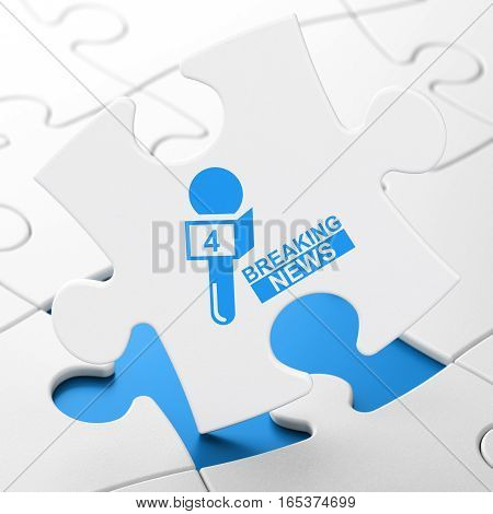 News concept: Breaking News And Microphone on White puzzle pieces background, 3D rendering