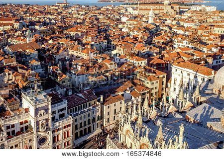Aerial view in winter from the San Marco Square, Venice, Veneto, Italy. Panoramic view at sunset.