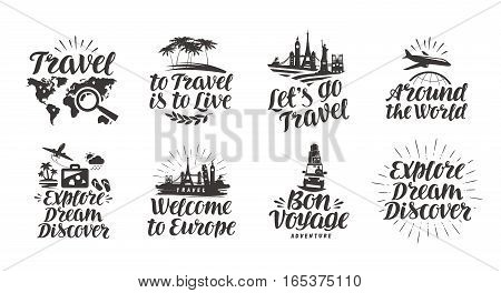 Travel, journey set icons. Handwritten lettering. Label vector illustration isolated on white background