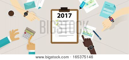 2017 target goals task list check new year resolution business personal meetings team company corporate marketing vector