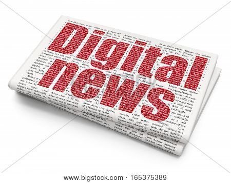 News concept: Pixelated red text Digital News on Newspaper background, 3D rendering