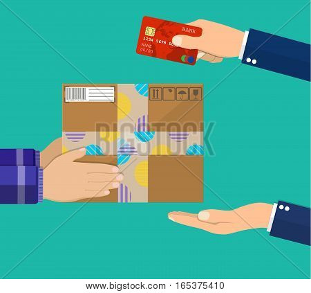 Human hand holds money and pay for the package. Delivery service concept. Payment by credit card for express delivery. Vector illustration in flat design.