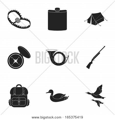 Hunting set icons in black style. Big collection of hunting vector symbol stock