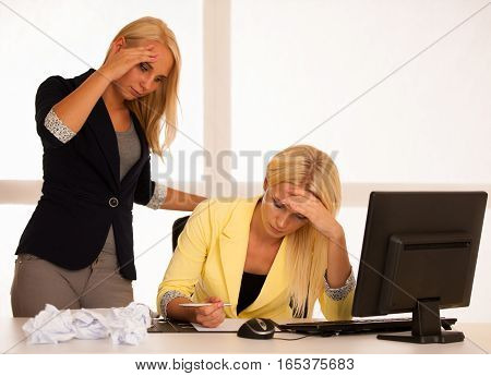 Chrisis And Depression - Businiss Woman In Office With Bad Business Results