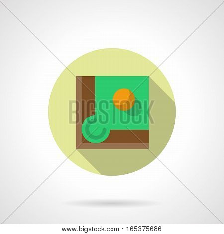 Yellow snooker ball near corner hole on a table. Billiard game rules. Sport competition and tournaments. Round flat design vector icon. poster