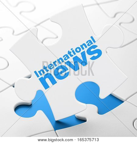 News concept: International News on White puzzle pieces background, 3D rendering