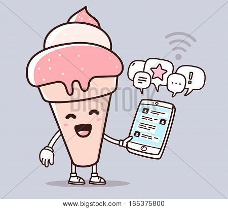 Vector Illustration Of Pink Color Smile Ice Cream Holding Phone On Purple Background. Chatting Carto
