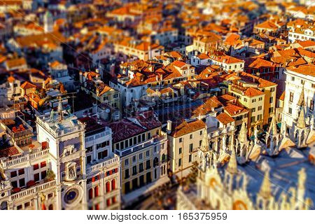 Miniature model of Venice, Italy. Tilt&Shit effect photography.