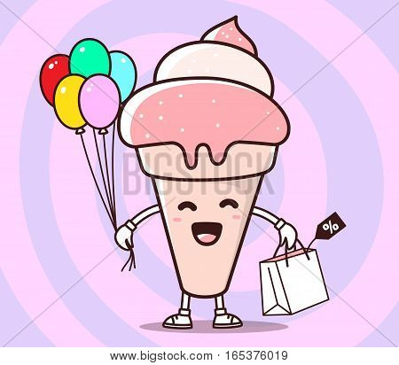Vector Illustration Of Color Smile Ice Cream With Shopping Package, Air Balloons On Pink Background.