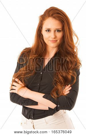 Attractive Confident Business Woman With Brown Hair Standing Isolated Over White Background