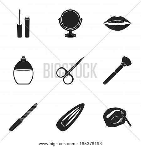 Make up set icons in black style. Big collection of make up vector symbol stock