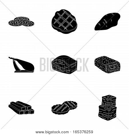 Meats set icons in black style. Big collection of meats vector symbol stock